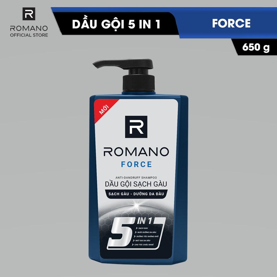 DẦU GỘI SẠCH GÀU ROMANO FORCE 5IN1 650G