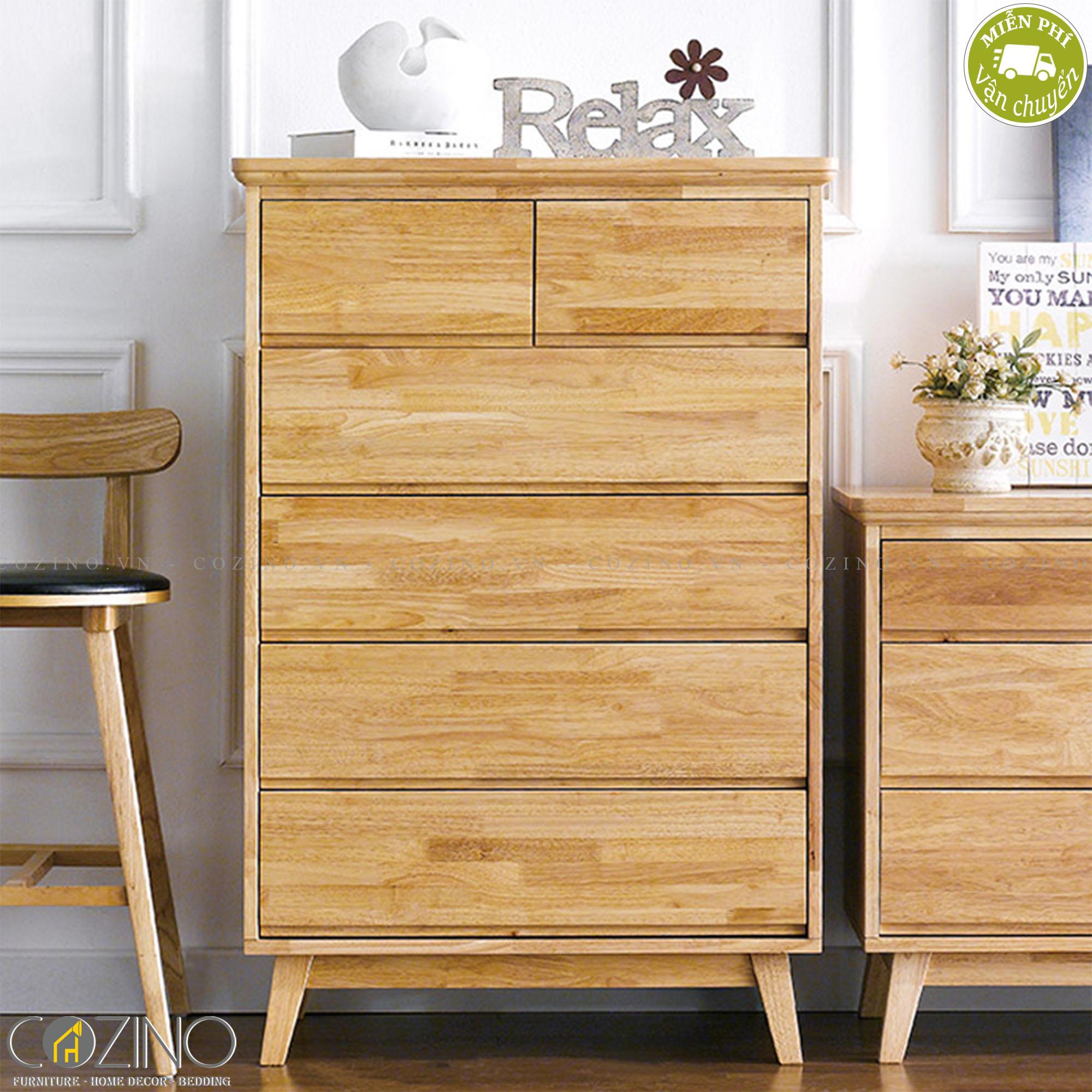 Tủ ngăn kéo đứng IXORA 6 hộc gỗ cao su - cozino