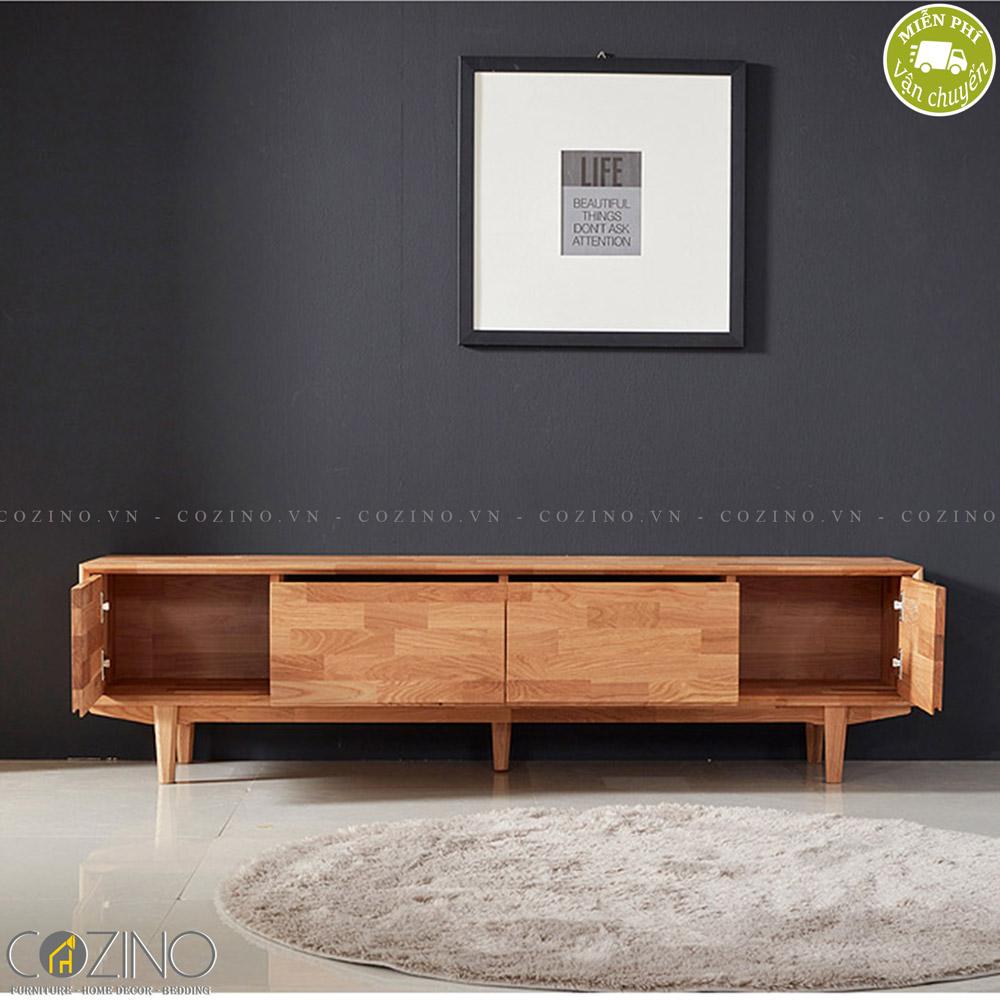 Tủ tivi Calla A gỗ cao su 1m8 (2 cánh 2 ngăn) - cozino