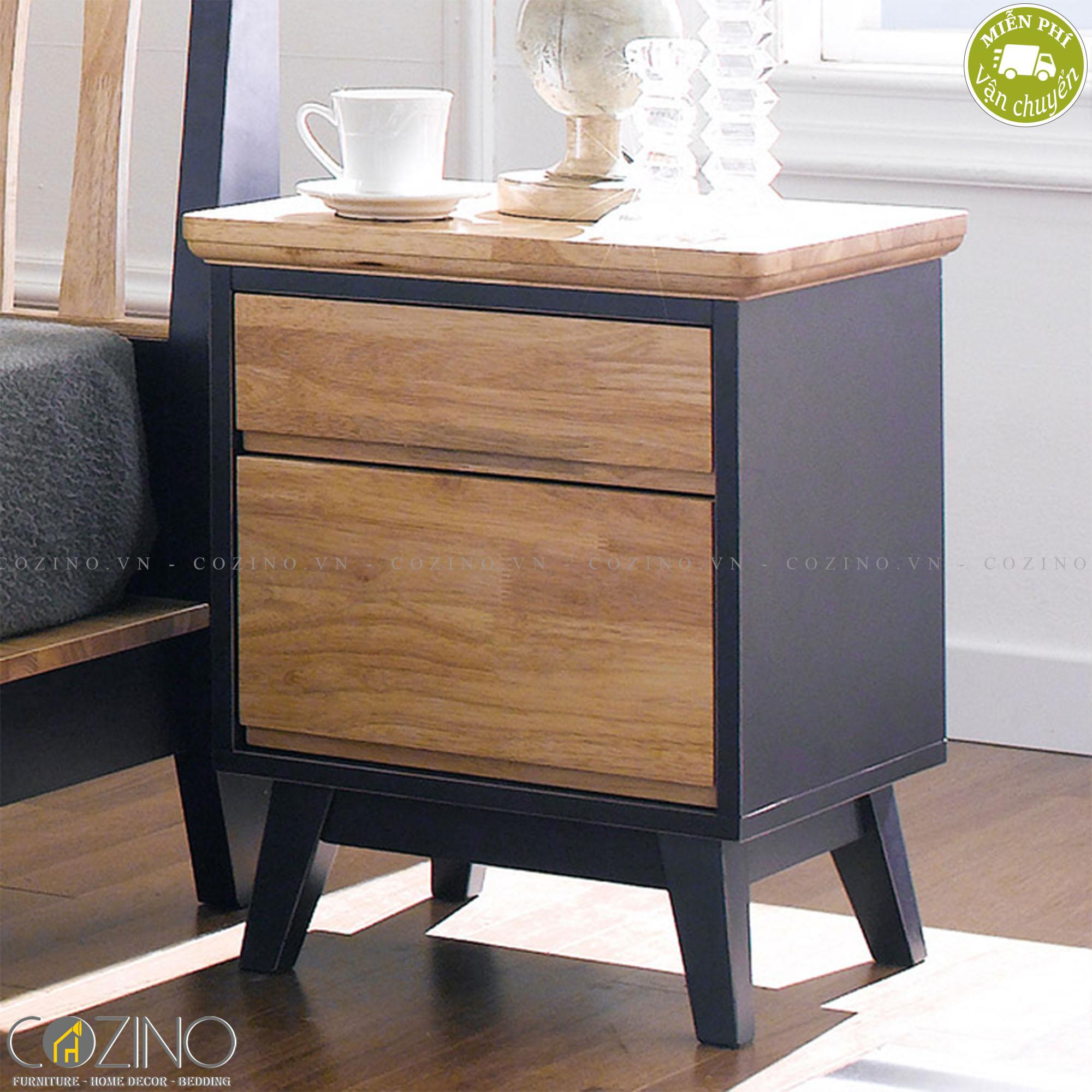 Tủ đầu giường Lantana 2 hộc gỗ cao su
