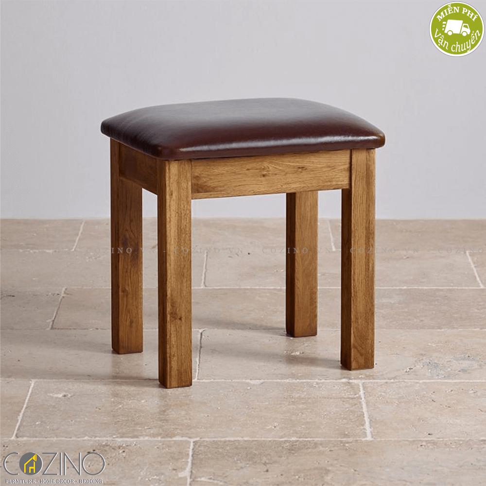 Ghế đôn bàn trang điểm Original Rustic gỗ sồi