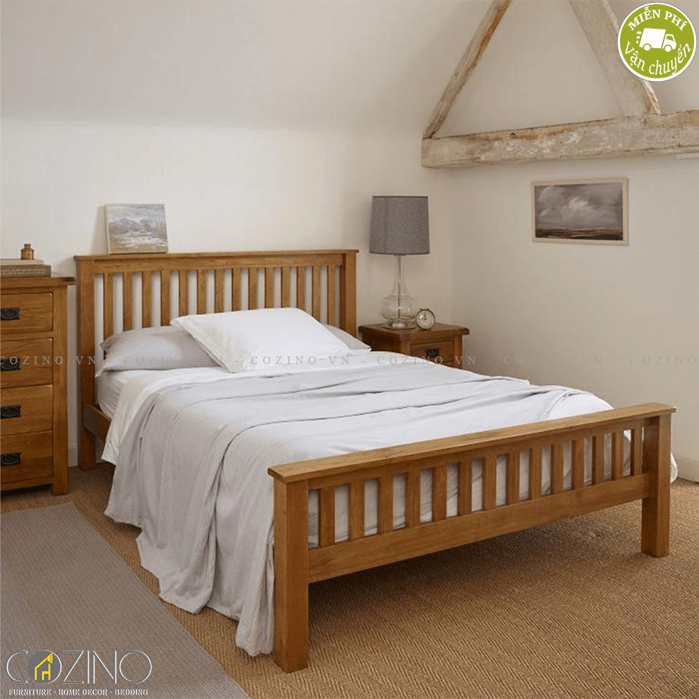 Giường đôi Original Rustic 100% gỗ sồi 2m2