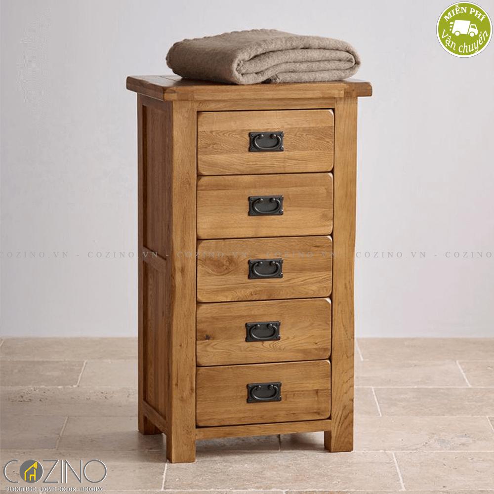 Tủ 5 ngăn kéo đứng Original Rustic gỗ sồi