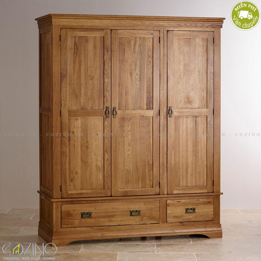 Tủ quần áo French Farmhouse 3 cánh gỗ sồi 1m6