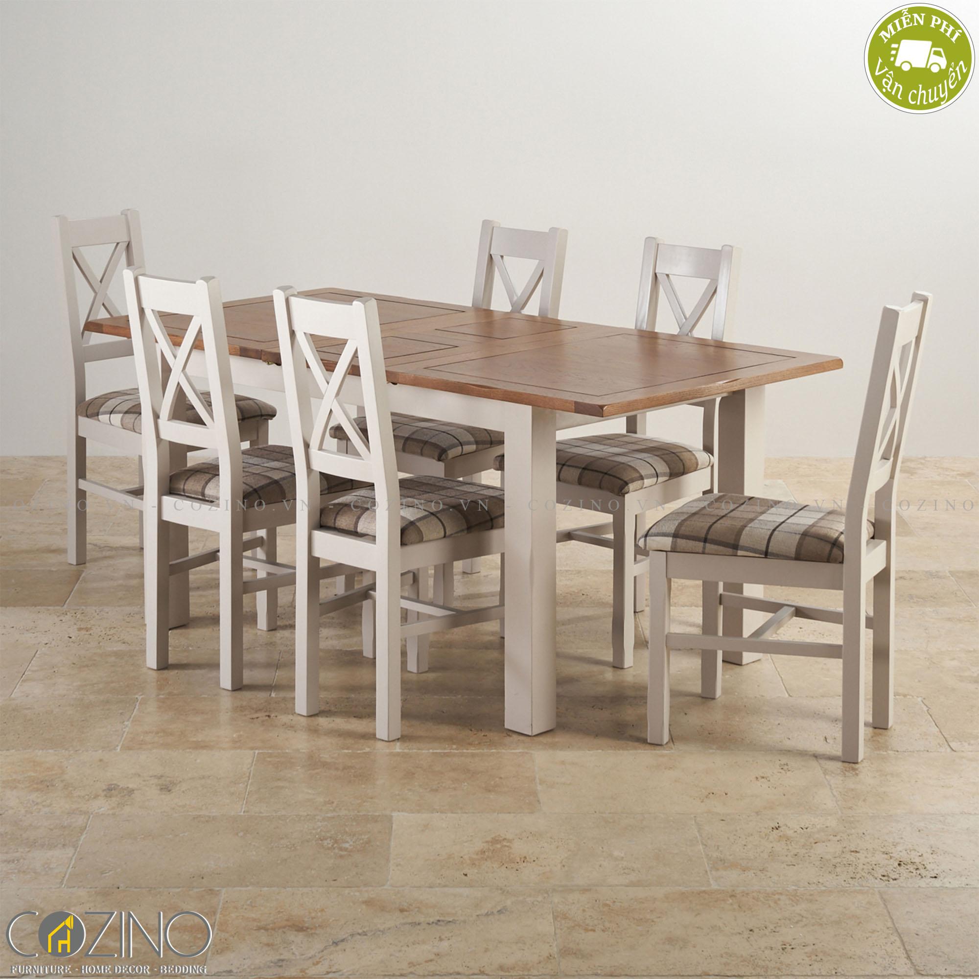Bộ bàn ăn 6 chỗ Sintra 100% gỗ sồi 1m8 - cozino