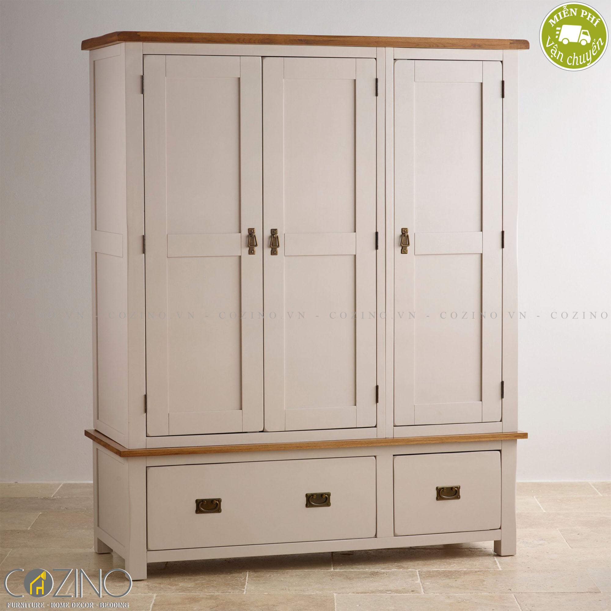 Tủ quần áo Sintra 3 cánh 2 ngăn kéo gỗ sồi 1m8