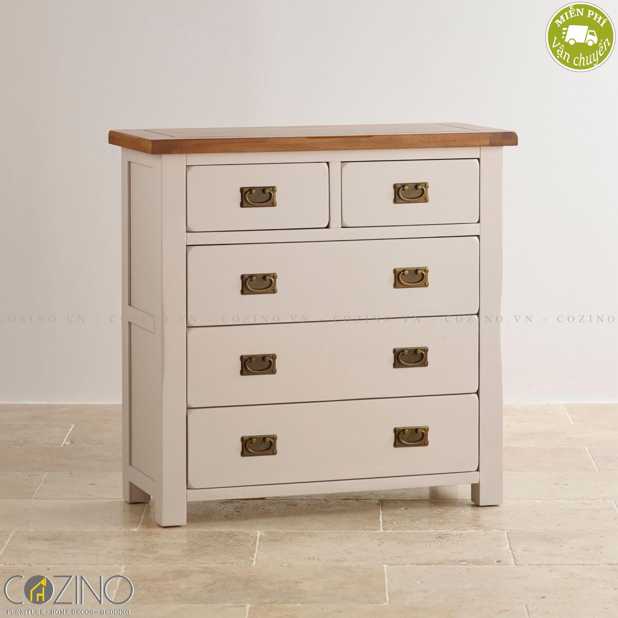 Tủ ngăn kéo ngang Sintra 5 hộc gỗ sồi