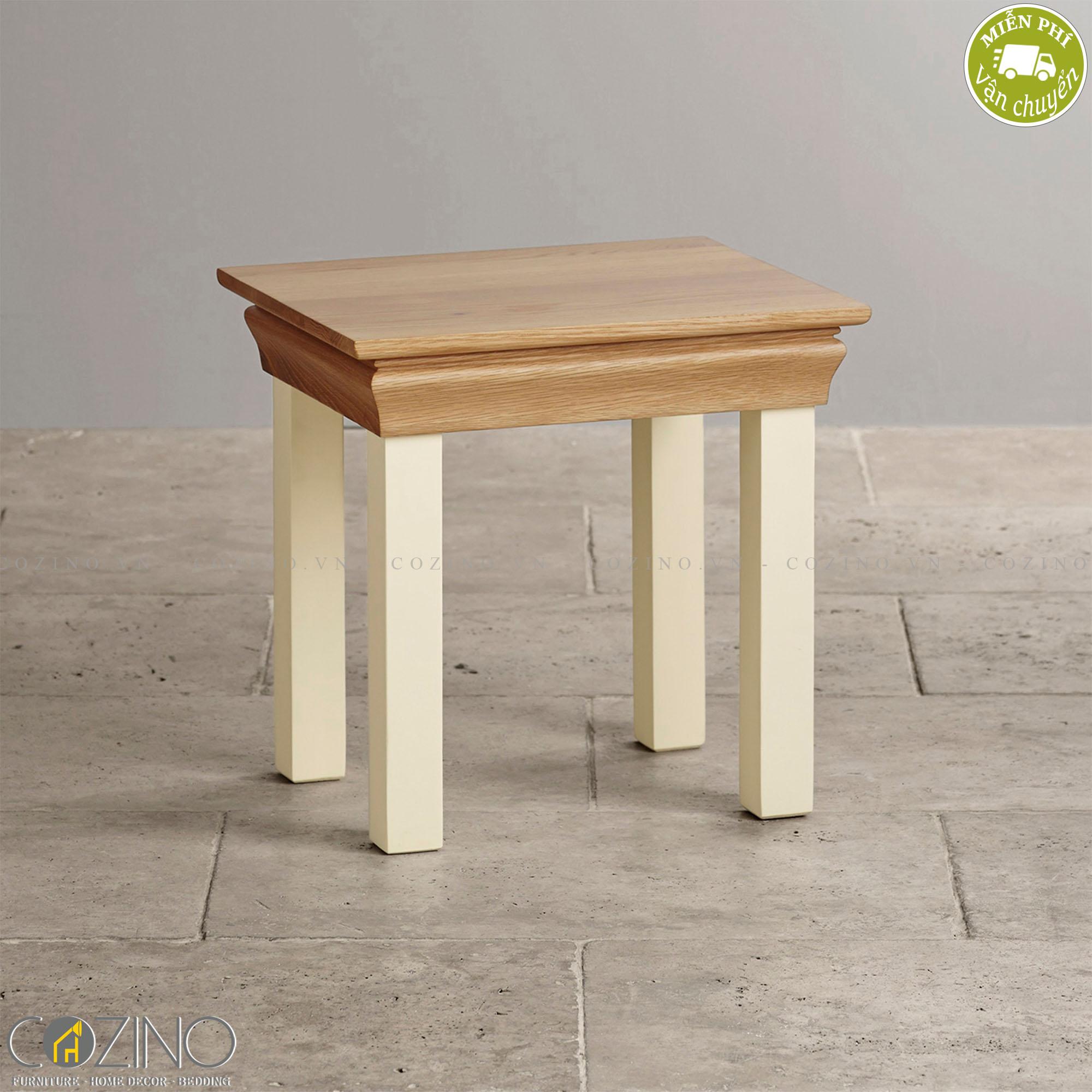Ghế đôn bàn trang điểm Canary 100% gỗ sồi  - Cozino