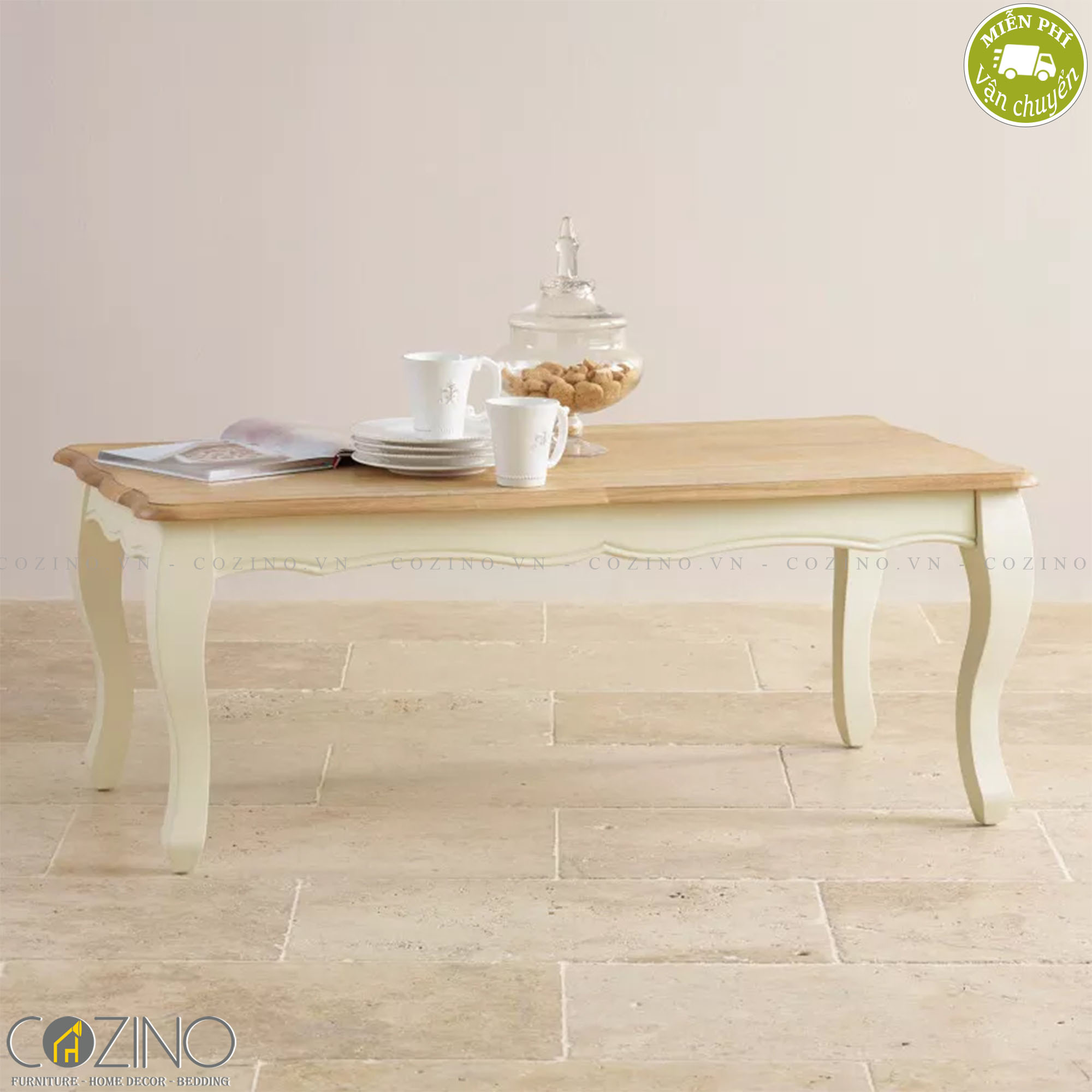 Bàn sofa Skye 100% gỗ sồi - Cozino