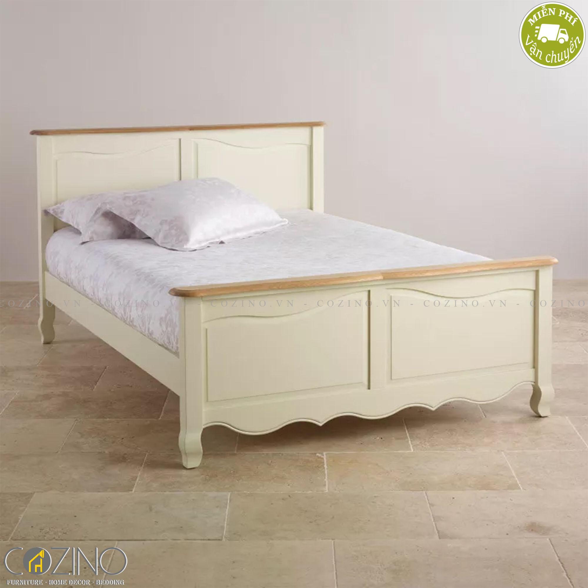 Giường đôi Skye 100% gỗ sồi 2m2 - cozino