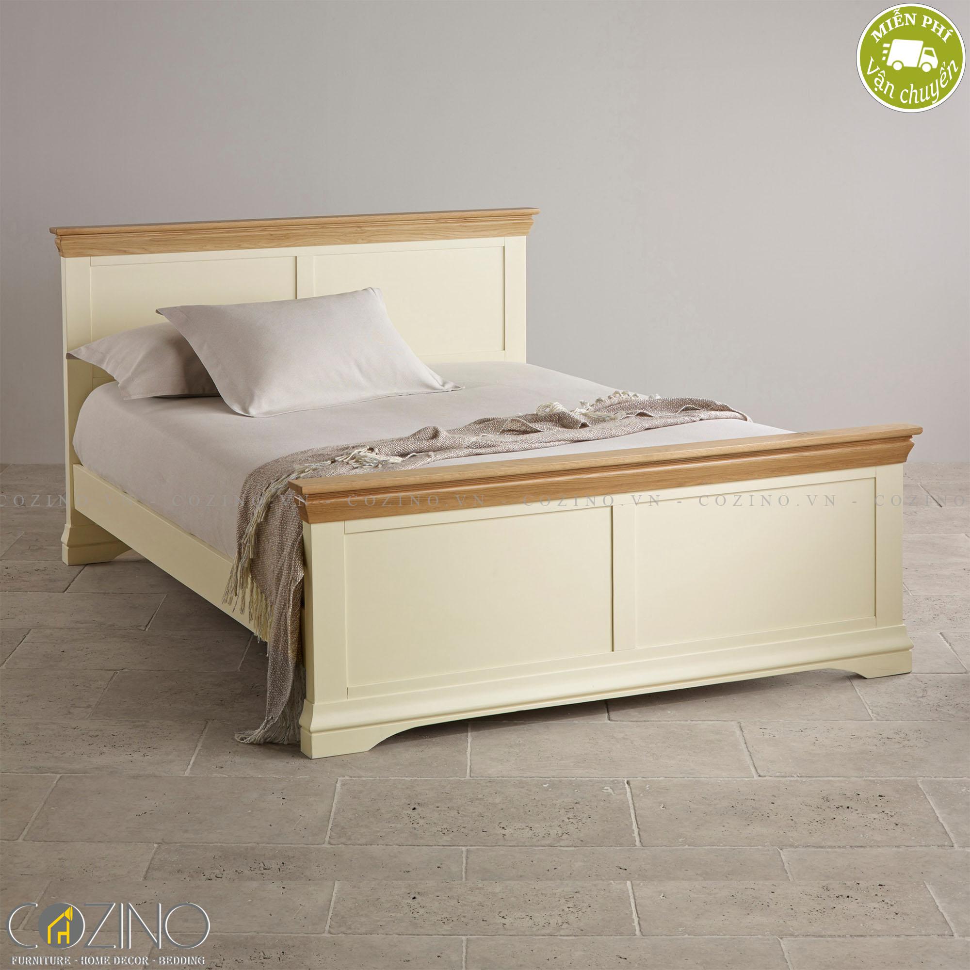 Giường đôi Canary 100% gỗ sồi 2m2 - Cozino