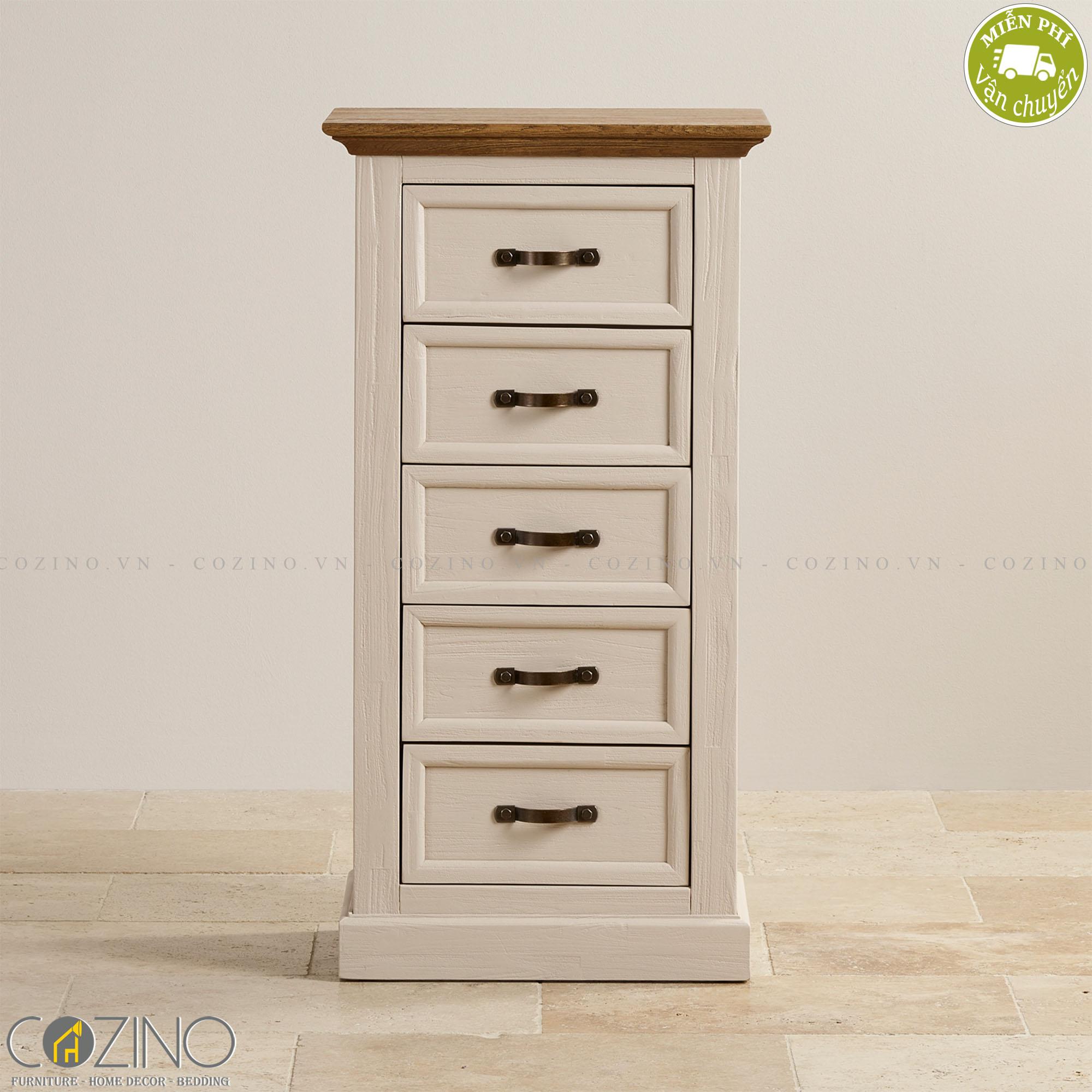 Tủ ngăn kéo đứng Sark 5 hộc gỗ sồi- Cozino