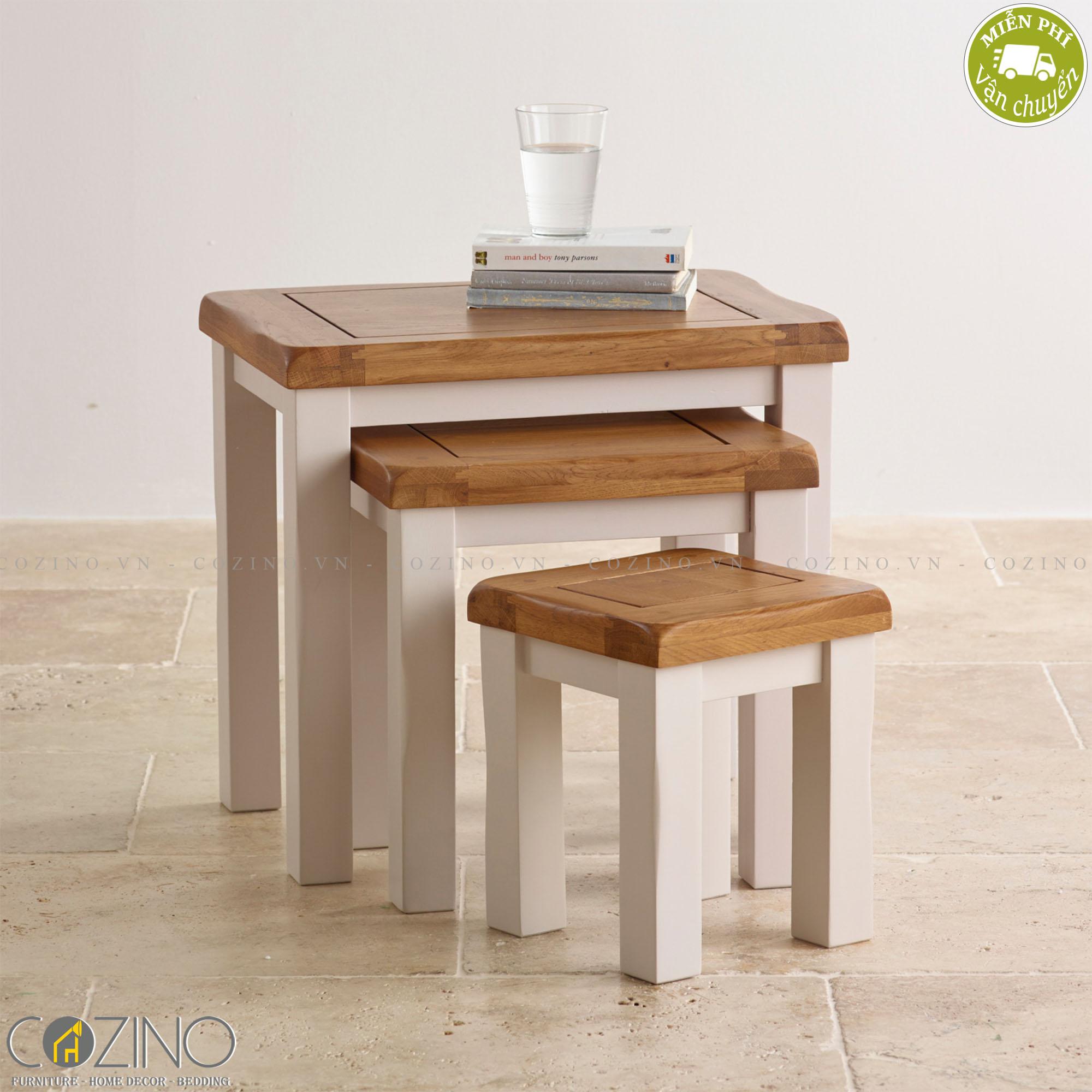 Bộ bàn xếp lồng Sintra 100% gỗ sồi  - cozino