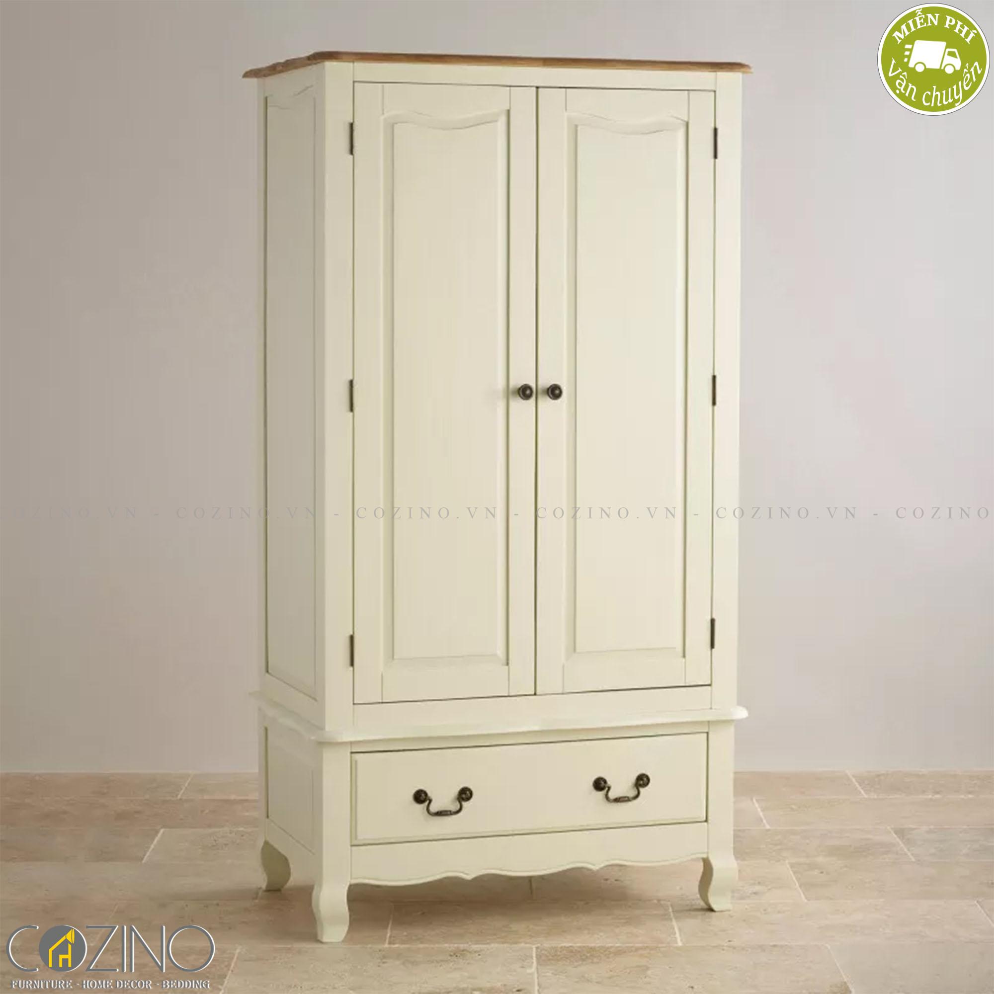 Tủ quần áo Skye 2 cánh 1 ngăn kéo gỗ sồi 1m4 - cozino