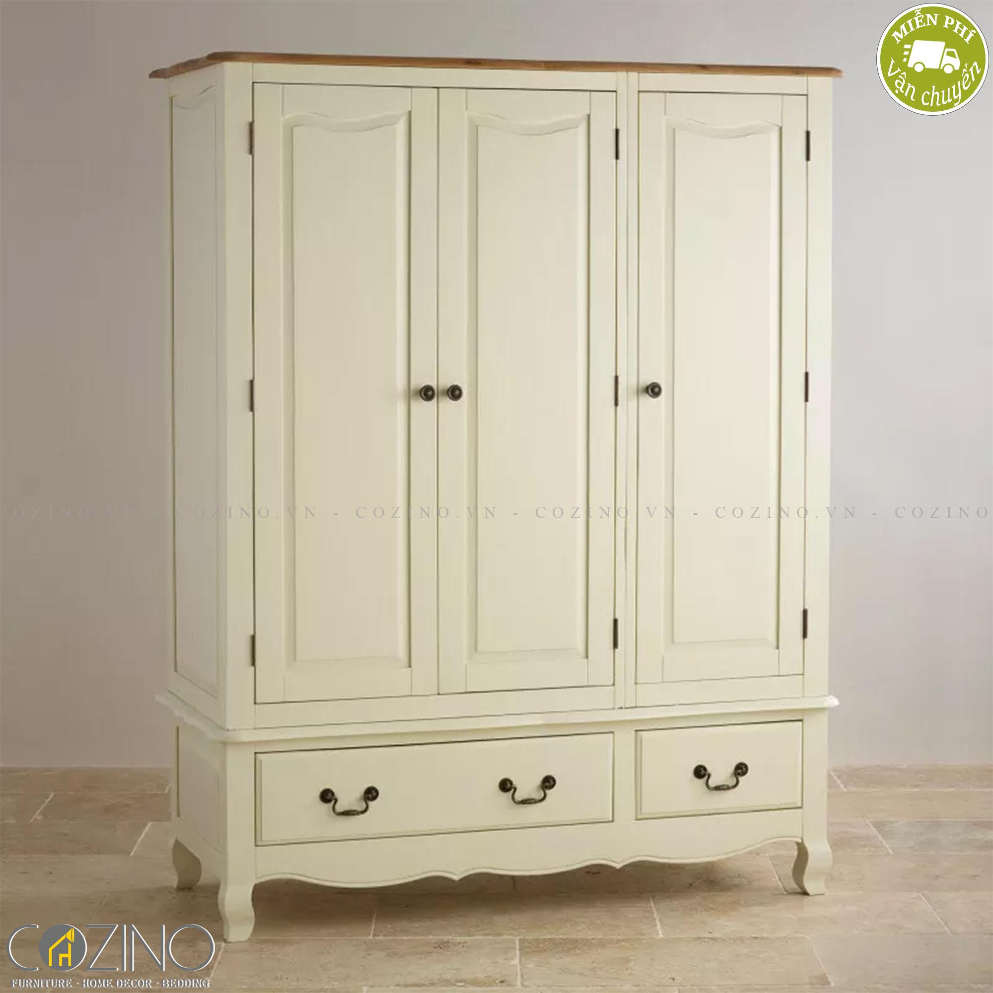 Tủ quần áo Skye 3 cánh 2 ngăn kéo gỗ sồi 1m8 - Cozino