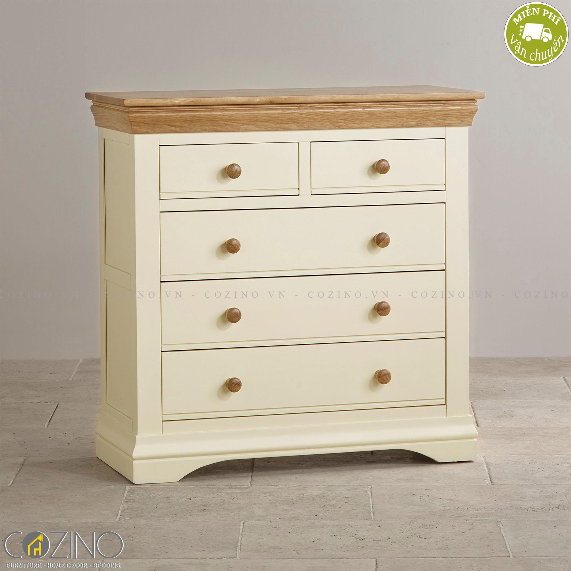 Tủ ngăn kéo ngang Canary 5 hộc gỗ sồi - Cozino