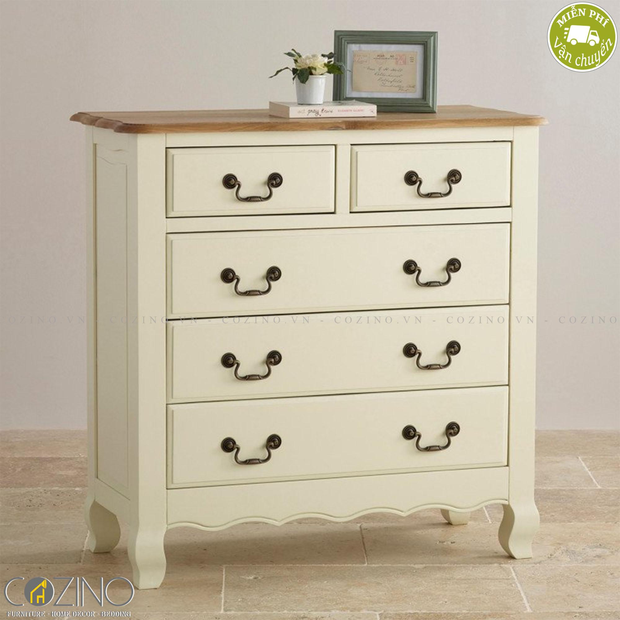 Tủ ngăn kéo ngang Skye 5 hộc gỗ sồi- Cozino