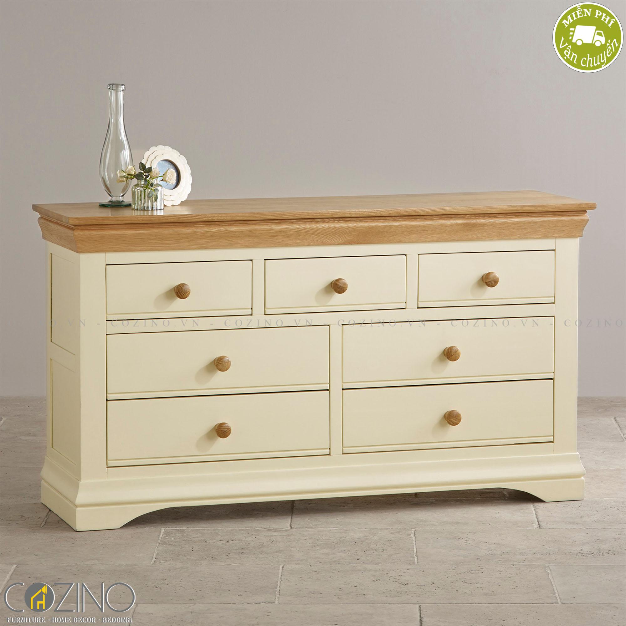 Tủ ngăn kéo ngang Canary 7 hộc gỗ sồi - Cozino