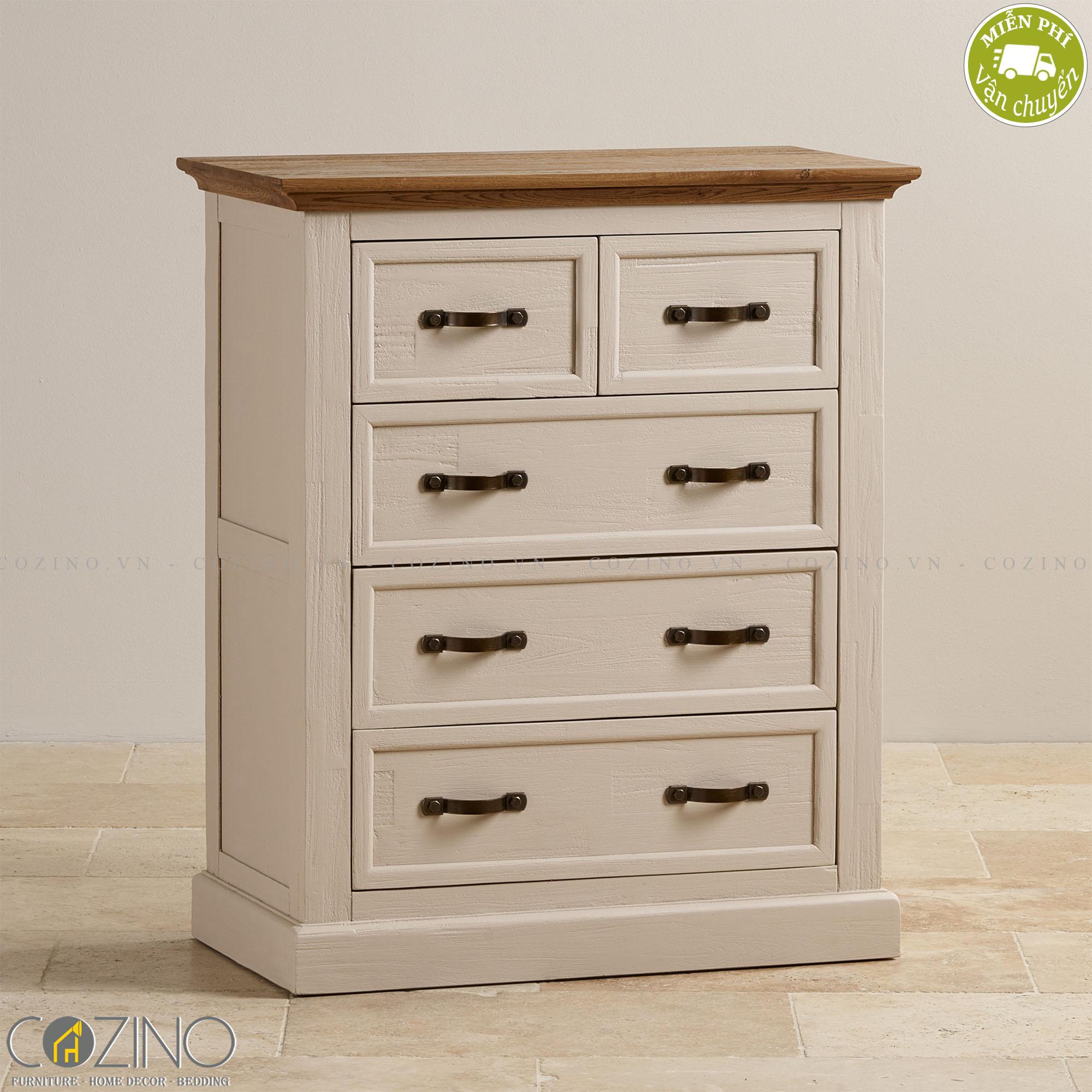 Tủ ngăn kéo ngang Sark 5 hộc gỗ sồi - Cozino