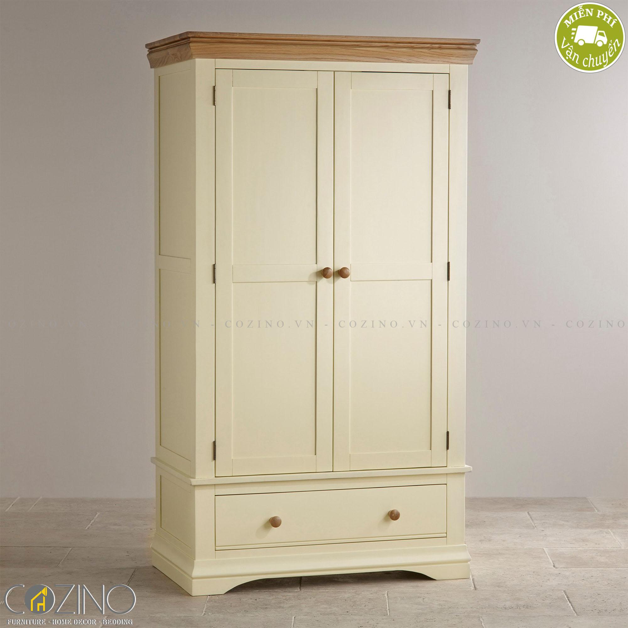 Tủ quần áo Canary 2 cánh 1 ngăn kéo gỗ sồi 1m4
