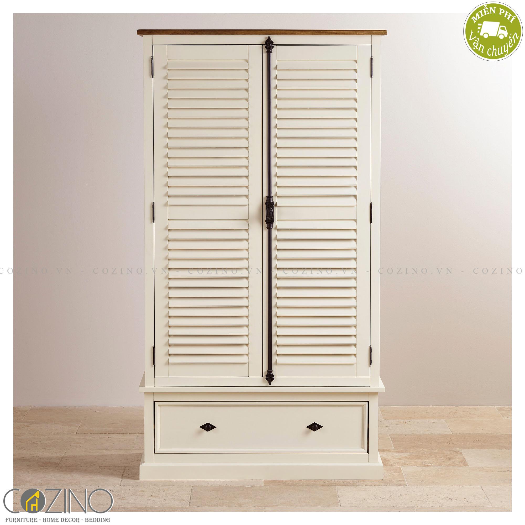 Tủ quần áo Chillon 2 cánh 1 ngăn kéo gỗ sồi 1m4 - Cozino