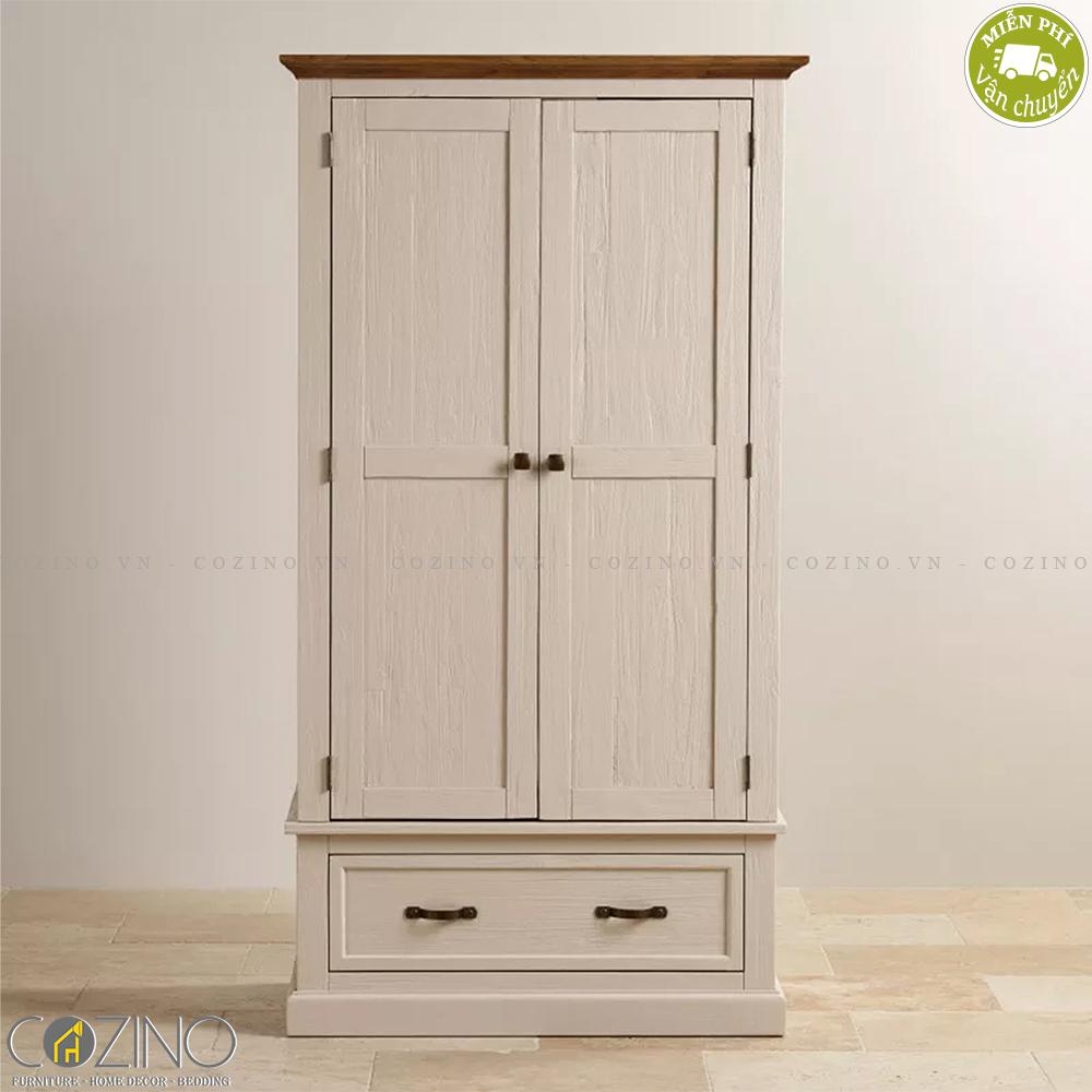 Tủ quần áo Sark 2 cánh 1 ngăn kéo gỗ sồi 1m4 - Cozino