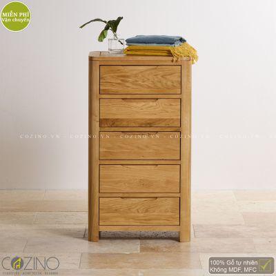 Tủ ngăn kéo đứng Emley 5 hộc gỗ sồi