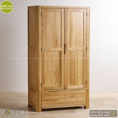 Tủ quần áo Emley 2 cánh 1 ngăn kéo gỗ sồi 1m4
