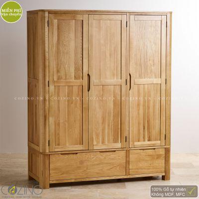 Tủ quần áo Emley 3 cánh 2 ngăn kéo gỗ sồi 1m6