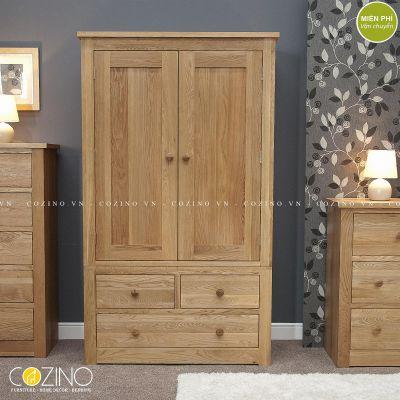 Tủ quần áo hai cánh ba ngăn kéo Torino gỗ sồi