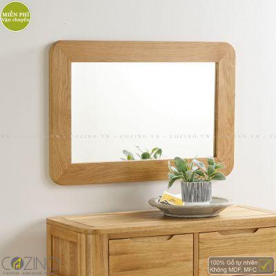 Gương treo tường Emley khung gỗ sồi