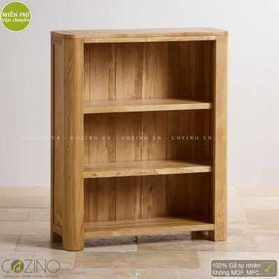 Tủ kệ sách thấp Emley gỗ sồi